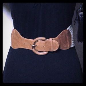 Tan Leather Belt w/ Beige Basket Weave Style Band
